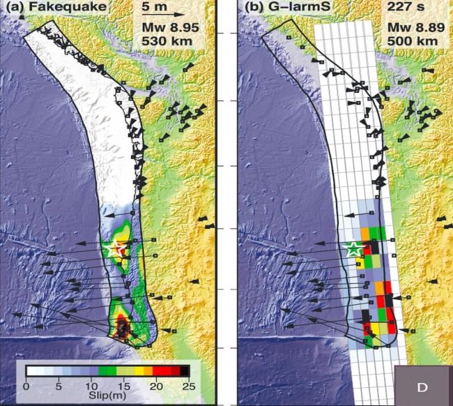 대형 지진을 발생 즉시 분석해 규모와 발생 위치 등 정보를 빠르게 제공하는 '측지경보시스템(G-larmS)'을 모의 지진을 통해 검증했다. 왼쪽 사진의 별표가 진원이고 주변 동심원이 지진에 의한 지층의 움직임이다. 오른쪽이 측지경보시스템으로 재현한 지진이다. 진원도 거의 정확히 밝혔고 규모(8.89)도 가상지진의 규모(8.95)와 비슷하게 추정했다. - 지구물리연구저널 제공